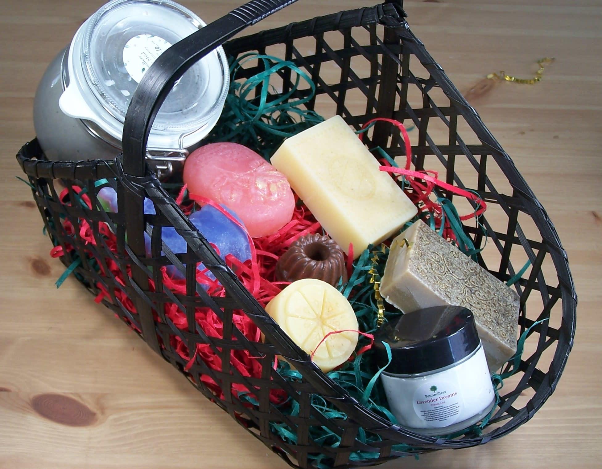 Gift Basket- Deluxe Spa: Bath Bar, Massager Bar, Miracle Mud, Bath Fizzy Salts, Foot Soak, & Nail Brush & Body Cream