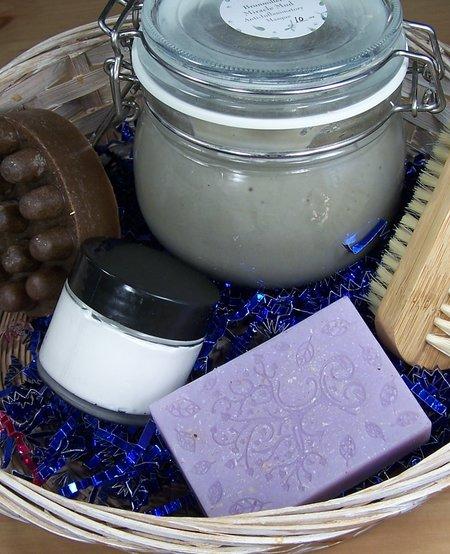 Spa Kit Basket: Bath Bar, Massager Bar, Miracle Mud, Body Cream, & Nail Brush