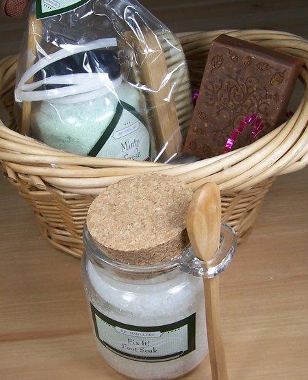 Spa Kit: Soap, Foot Soak or Bath Fizzy Salts, and Nail Brush