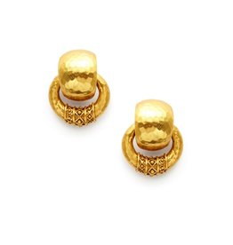 Julie Vos Catalina Doorknocker Earring Gold