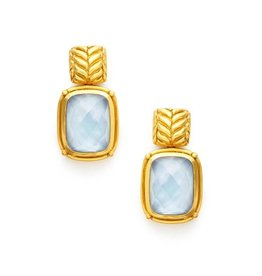 Julie Vos Monterey Earring Gold Iridescent Chalcedony Blue