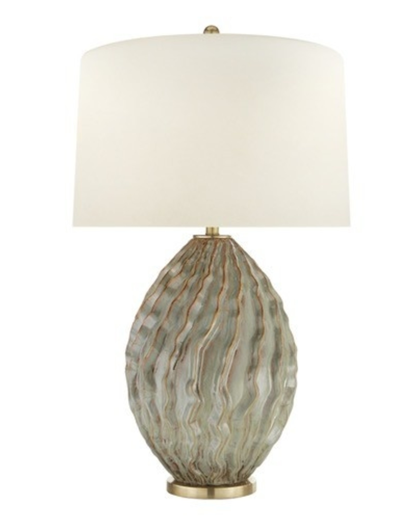 Visual Comfort Dianthus Large Table Lamp in Desert Rain with Natural Percale Shade