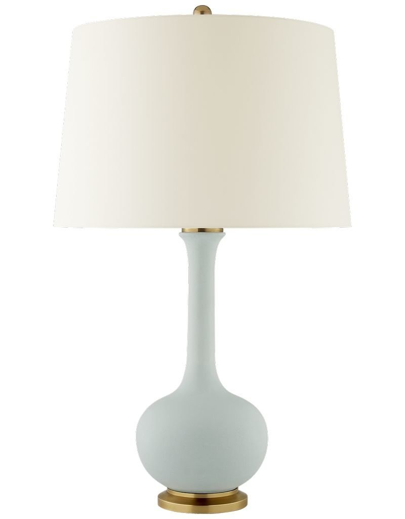 Visual Comfort Coy Medium Table Lamp in Matte Sky Blue with Natural Percale Shade