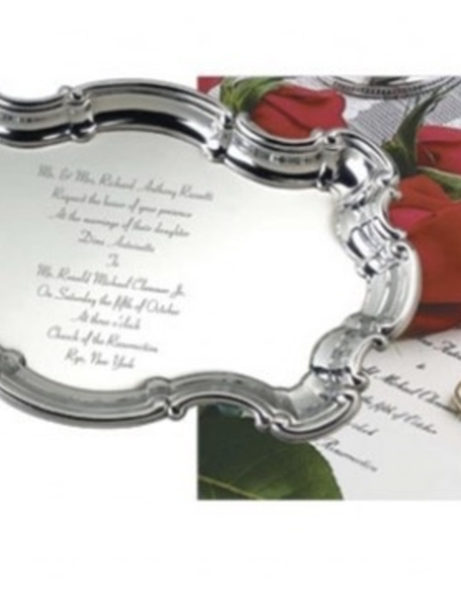 """Salisbury, Inc. 9"""" Chippendale Tray with Engraved Wedding Invitaiton (up to 13 lines)"""