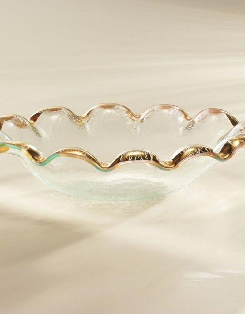 """Annie Glass Ruffle Gold Oval Serving Bowl 12"""""""