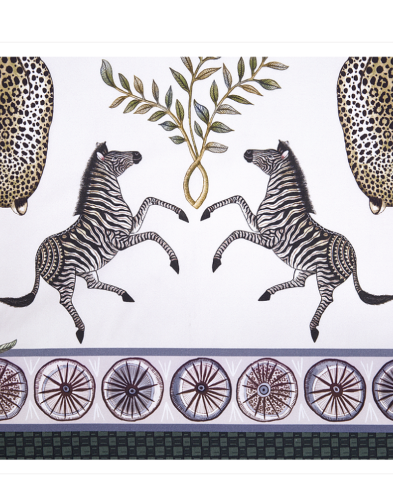 Ngala Trading Ardmore Tablecloth Leopard Lilly in Safari Stone Cream - 138x63