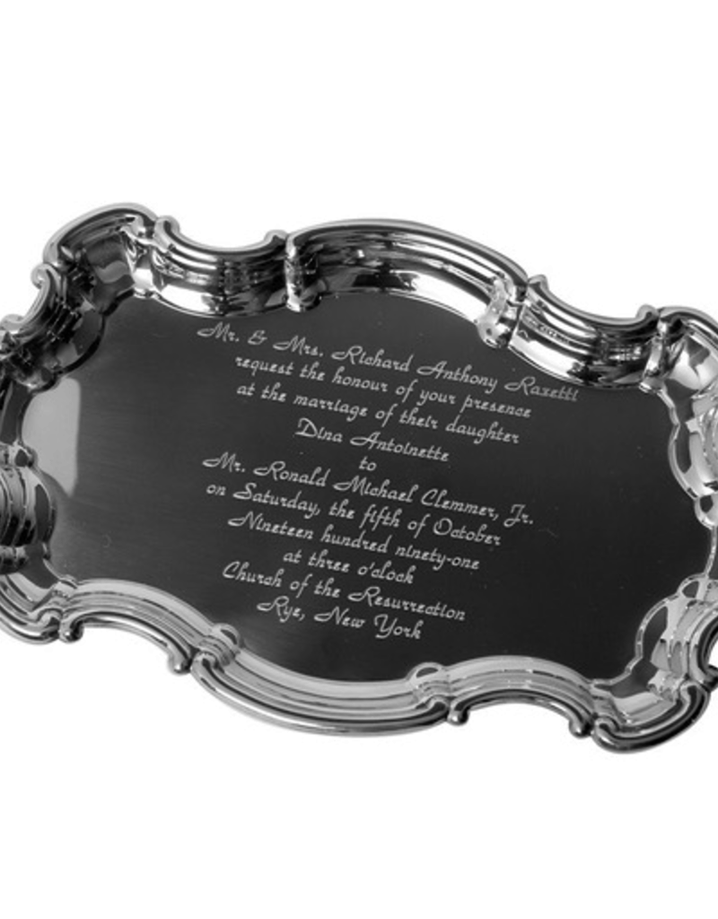 "Salisbury, Inc. 9"" Chippendale Tray with Engraved Wedding Invitaiton (up to 13 lines)"