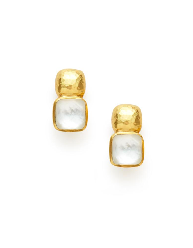 Julie Vos Catalina Earring Gold Iridescent Clear Crystal
