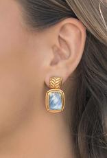 Julie Vos Monterey Earring Gold Iridescent Chalcedony Blue