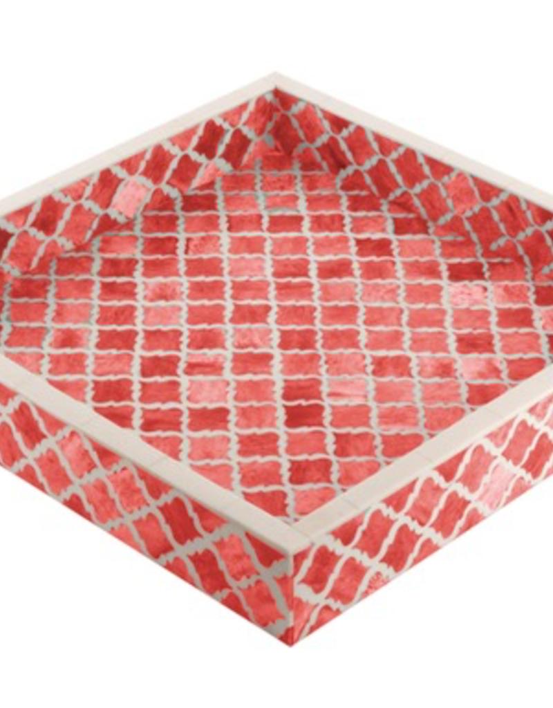 Eccolo Morrocan Tile Tray, Coral 12x12