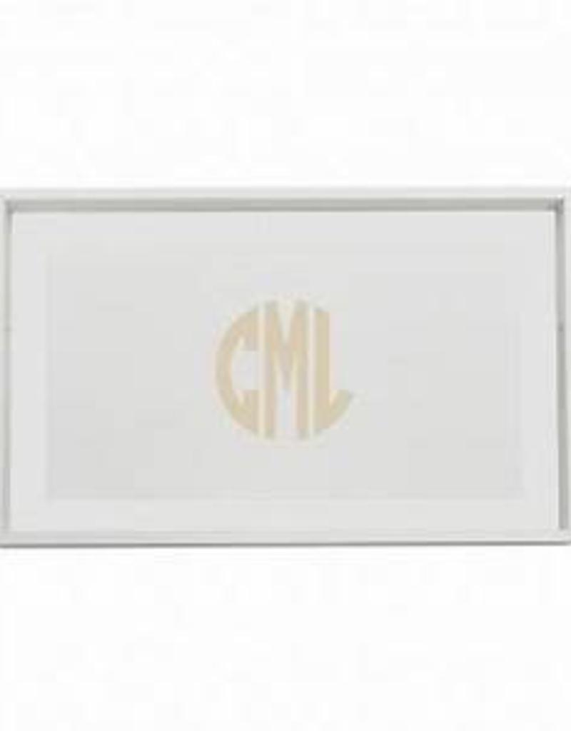 "Gate House Furniture Wood Tray 24"" White/White Circle Monogram Rectangle"