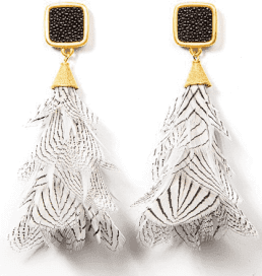 Brackish Gault Earrings - Pheasant Feathers and Stingray