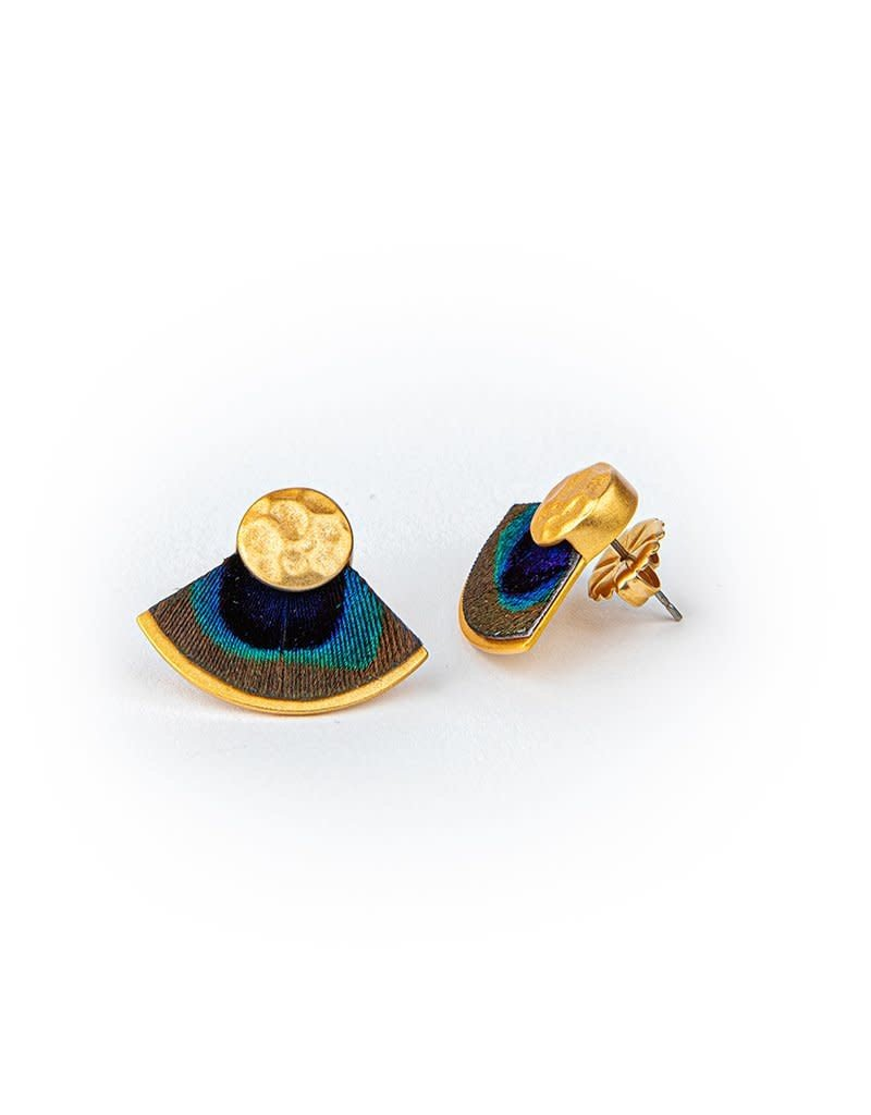 Brackish Aly Earrings - Peacock Feathers