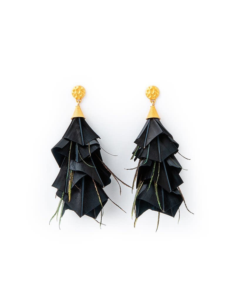 Brackish Becky Earrings - Goose and Peacock Feathers