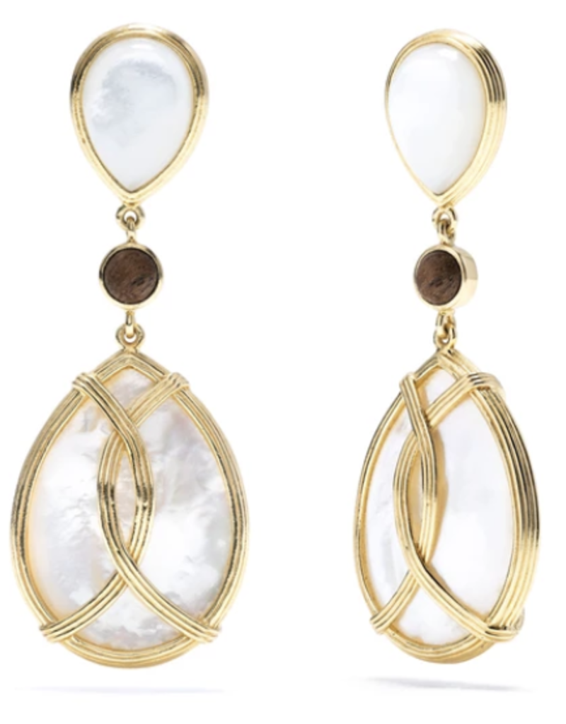 Gifts Monique Mother of Pearl and Teak Tear Drop Earrings