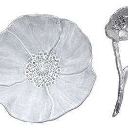 Mariposa Poppy Ceramic Canape  Plate with Poppy Spoon