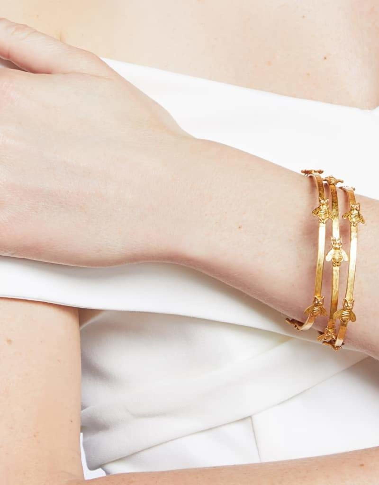 Julie Vos Bee Bangle Gold Zircon - Medium