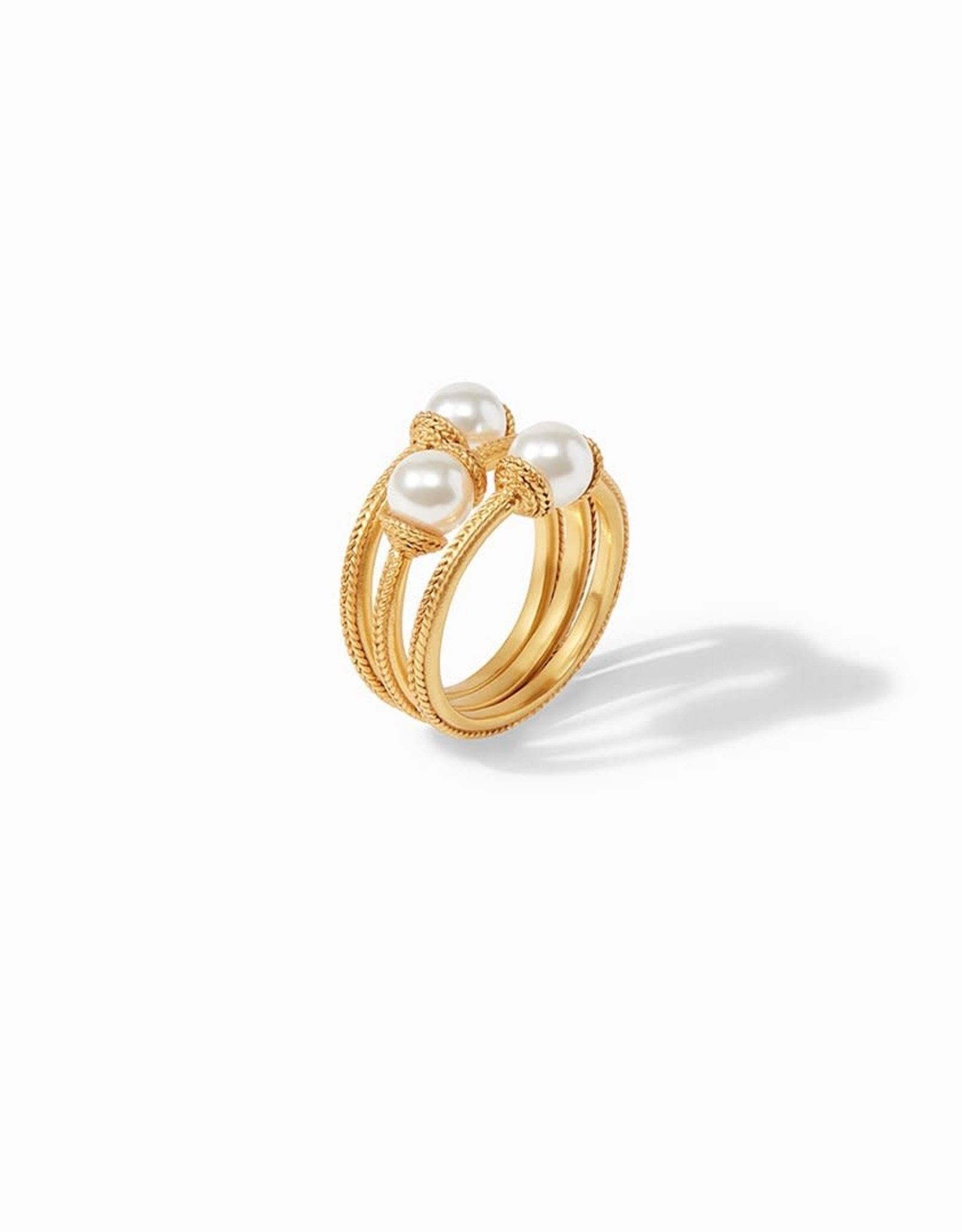 Julie Vos Calypso Pearl Stacking Ring (Set of 3) Gold - Size 6