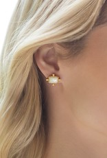 Julie Vos Clara Stud Gold Iridescent Clear Crystal