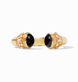 Julie Vos Savannah Hinge Cuff Gold Black Onyx Endcaps with Pearl Accents