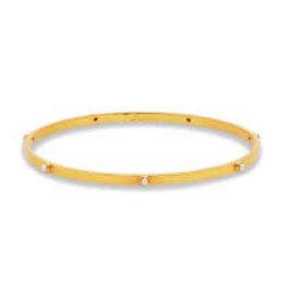 Julie Vos Crescent Bangle Gold Pearl Medium