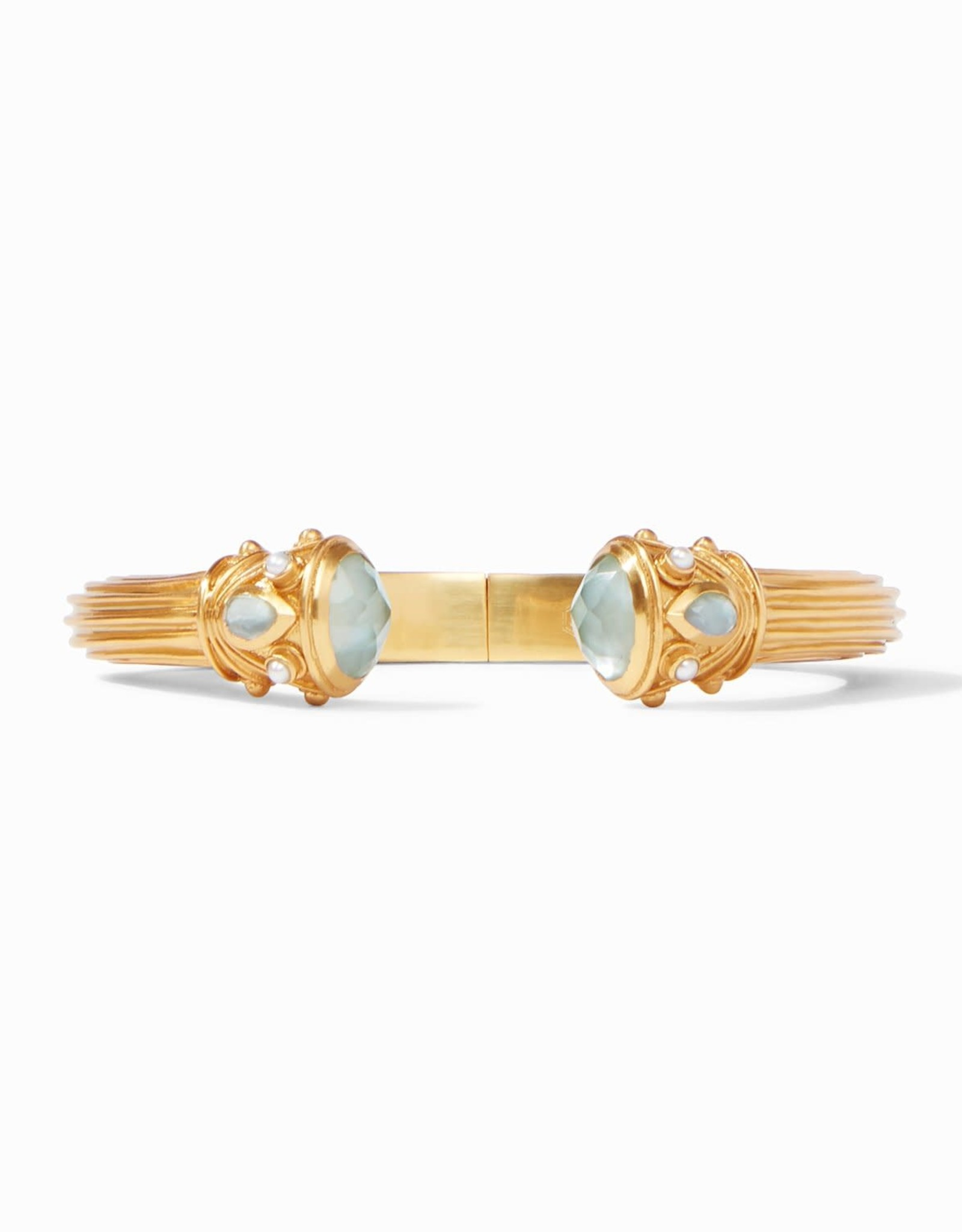 Julie Vos Byzantine Demi Hinge Cuff Gold Iridescent Aquamarine Blue Endcaps with Iridescent Aquamarine and Fresh Water Pearl Accents