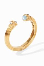 Julie Vos Byzantine Demi Hinge Cuff Gold Iridescent Aquamarine Blue Endcaps with Iridescent Aquamarine and Fresh Water Pearl Accents