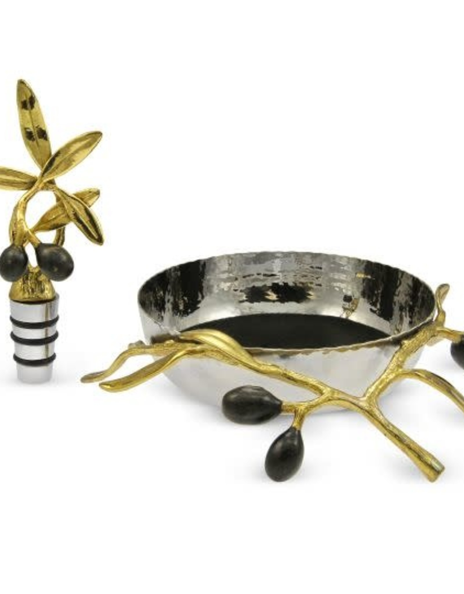 Michael Aram Olive Branch Wine Coaster and Stopper Set
