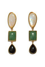Gifts Color Field Earrings - Gold-plated brass linked earrins with semiprecious moonstone, green quartz and black agate cabochons