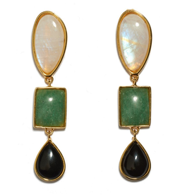 Gifts Lizzie Fortunato Color Field Earrings - Gold-plated brass linked earrins with semiprecious moonstone, green quartz and black agate cabochons