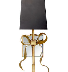 Home Ellery Small Gros-Grain Bow Sconce in Soft Brass with Matte Black Shade