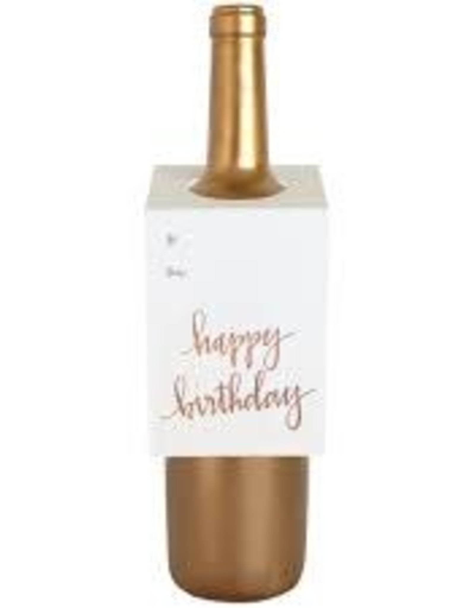 Chez Gagne Happy Birthday Rose Gold Bottle Tag