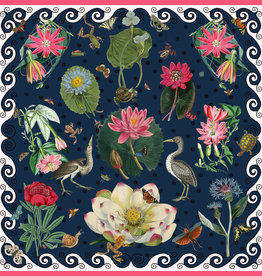 Carson & Co Pink Waterlilies Navy Scarf