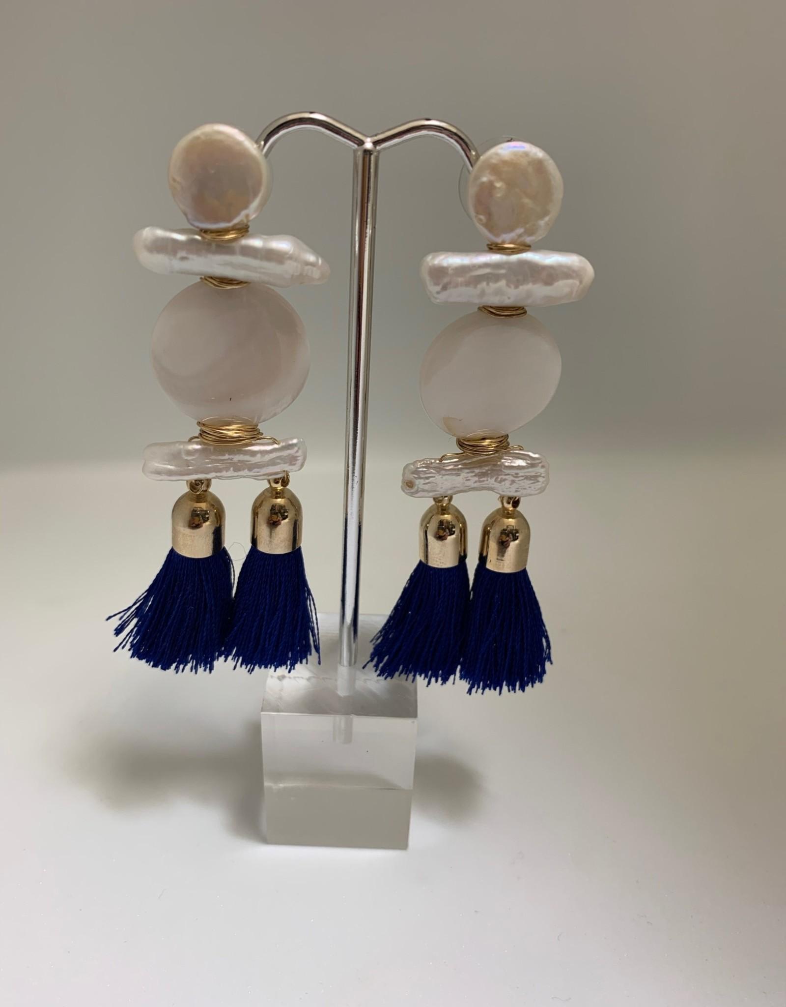 Gifts Navy Blue Tassel Earrings