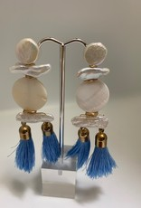Gifts Light Blue Tassel and Pearl Earrings