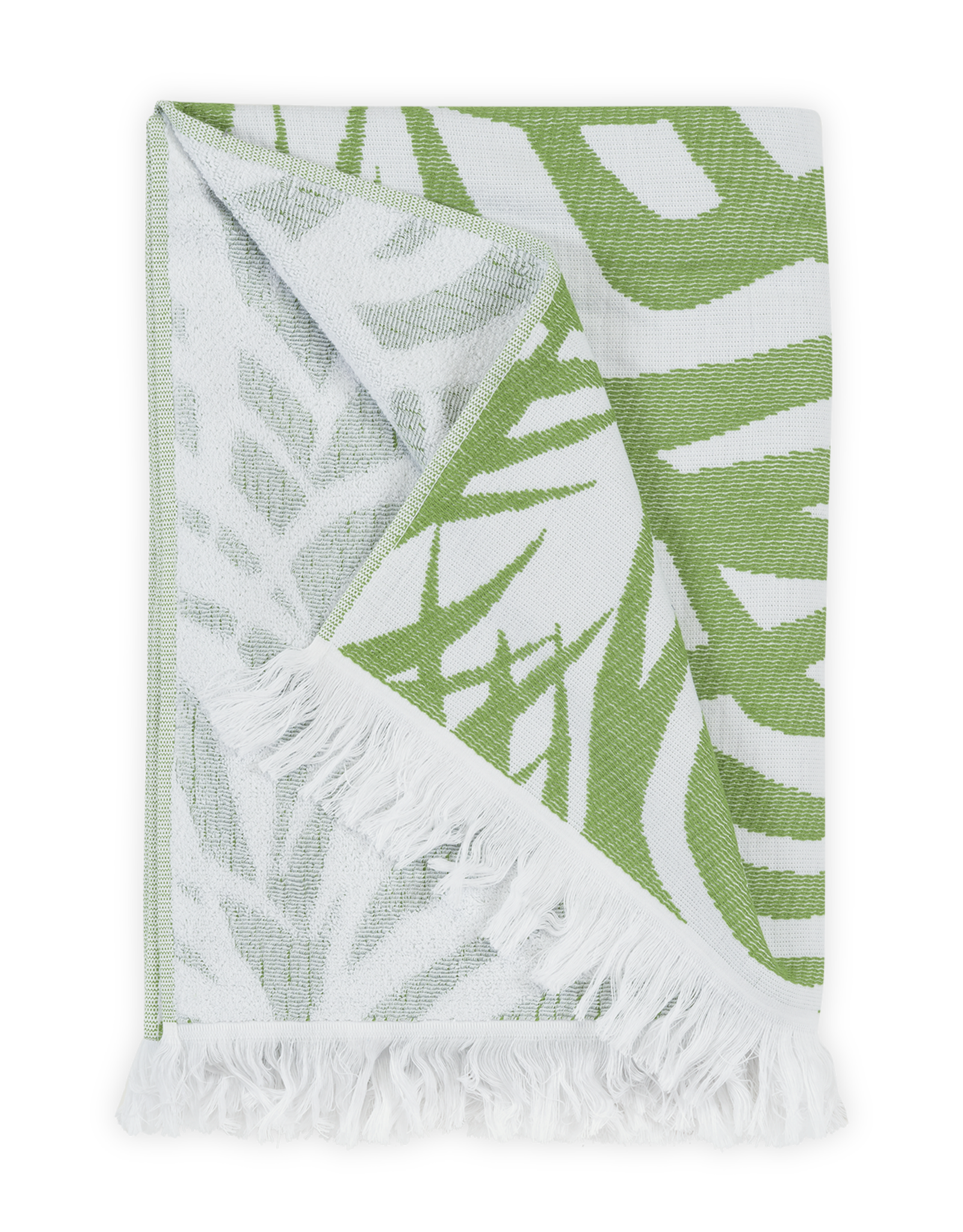 Matouk Zebra Palm Beach Towel - Schumacher iconic design in white terry combines pal frond with hints of an animal pattern
