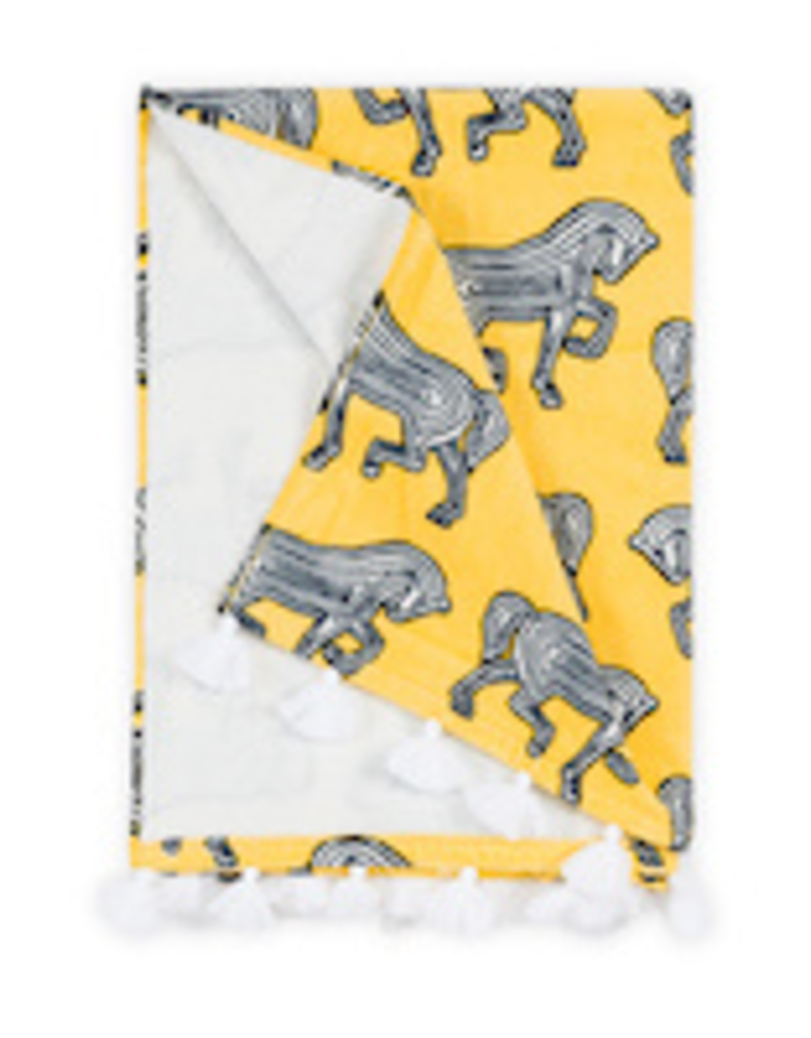 Matouk Faubourg Beach Towel - Schumacher hand drawn horses prance on this whimsical towel finished with bold tassels