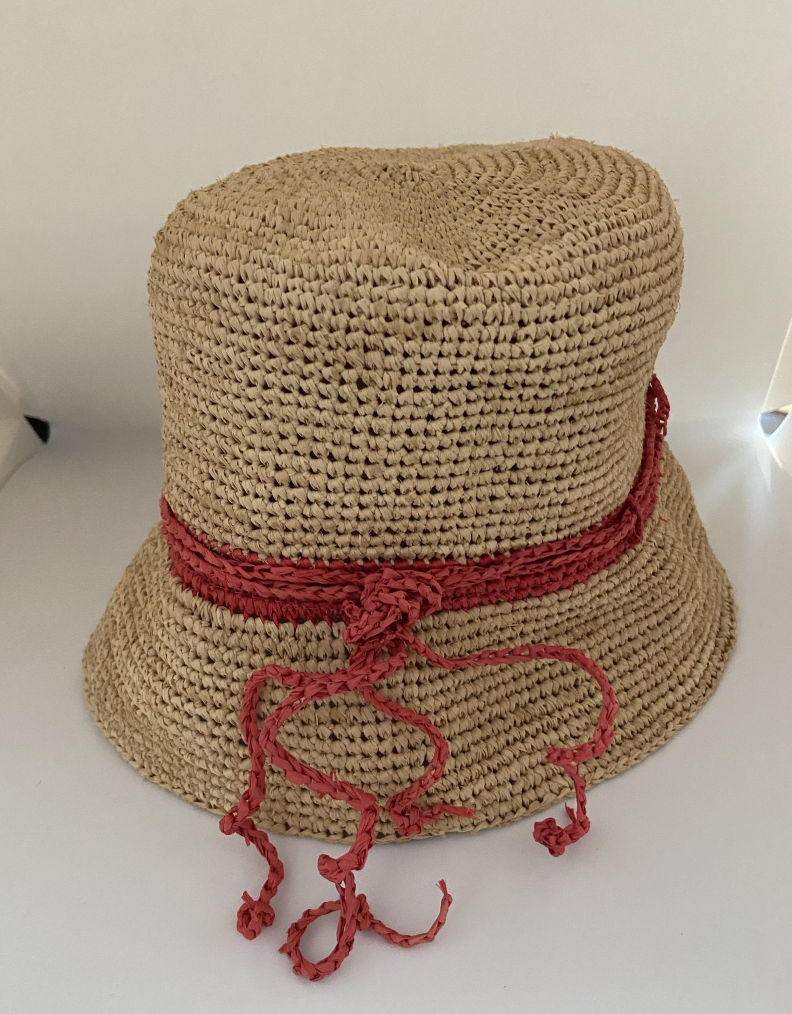 Gifts Audrey Sunhat in Natural with Coral Stripe