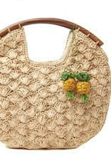 Gifts Isla Crocheted Clutch with Pineapple Charms in Natural