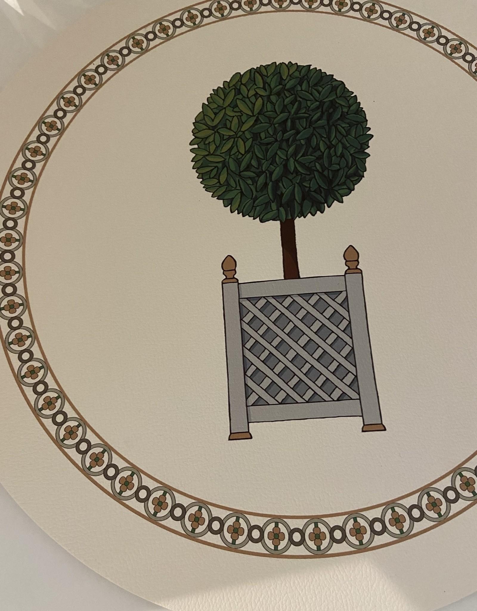 "Nicolette Mayer Timothy Corrigan 16"" Round Pebble Parterre Topiary Placemat Set of 4"