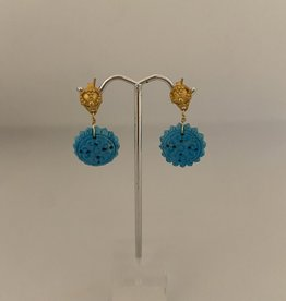 Wendy Perry Designs Jaisalmer Earrings - One of a kind carved turquoise and gold vermeil