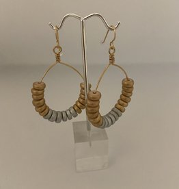 Wendy Perry Designs Playa Cristina Handmade Hoops with Gold and Silver Wood Discs