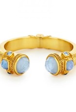 Julie Vos Catalina Hinge Cuff Gold Iridescent Chalcedony with Iridescent Chalcedony Blue Accents