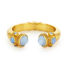 Julie Vos Catalina Hinge Cuff Gold Iridescent Chalcedony with Iridescent Chalcedony Blue Accents