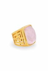 Julie Vos Geneva Stone Ring Gold Iridescent Rose - 8/9