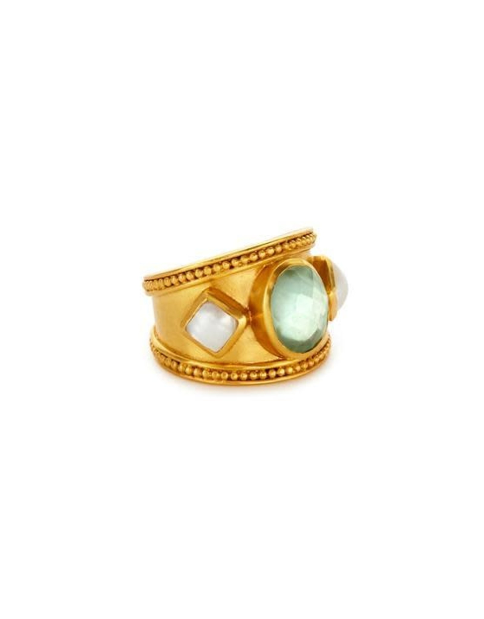 Julie Vos Loire Stone Ring Gold Iridescent Aquamarine Blue with Pearl Accents - 8/9