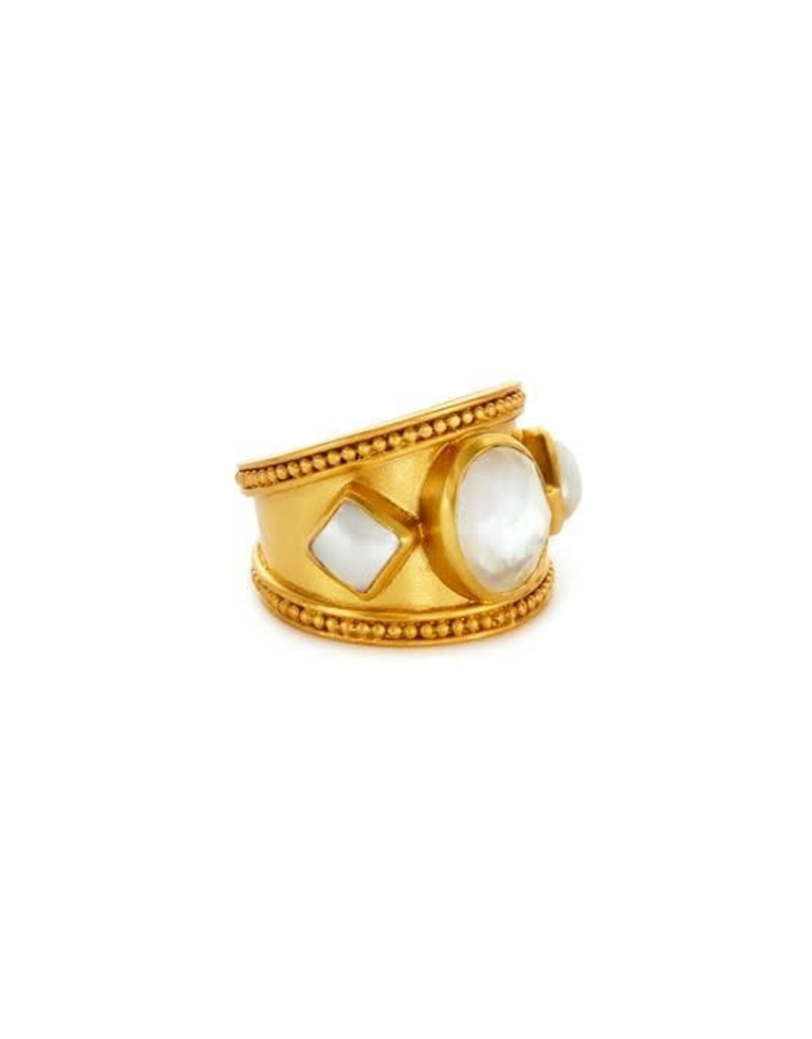Julie Vos Loire Stone Ring Gold Iridescent Clear Crystal with Pearl Accents - 8/9