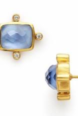 Julie Vos Clara Stud Gold Iridescent Chalcedony Blue