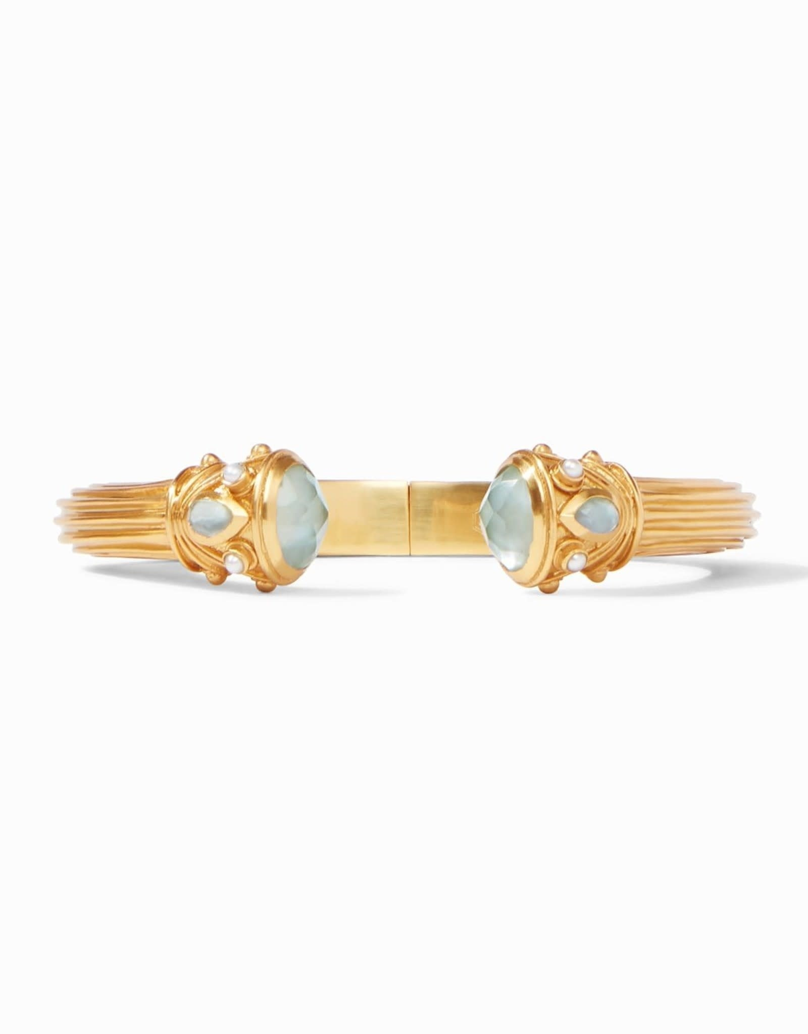 Julie Vos Byzantine Hinge Cuff Gold Iridescent Aquamarine Blue Endcaps with Pearl Accents