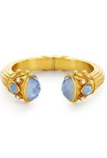 Julie Vos Byzantine Hinge Cuff Gold Iridescent Chalcedony Blue Endcaps with Iridescent Chalcedony Blue and Pearl Accents